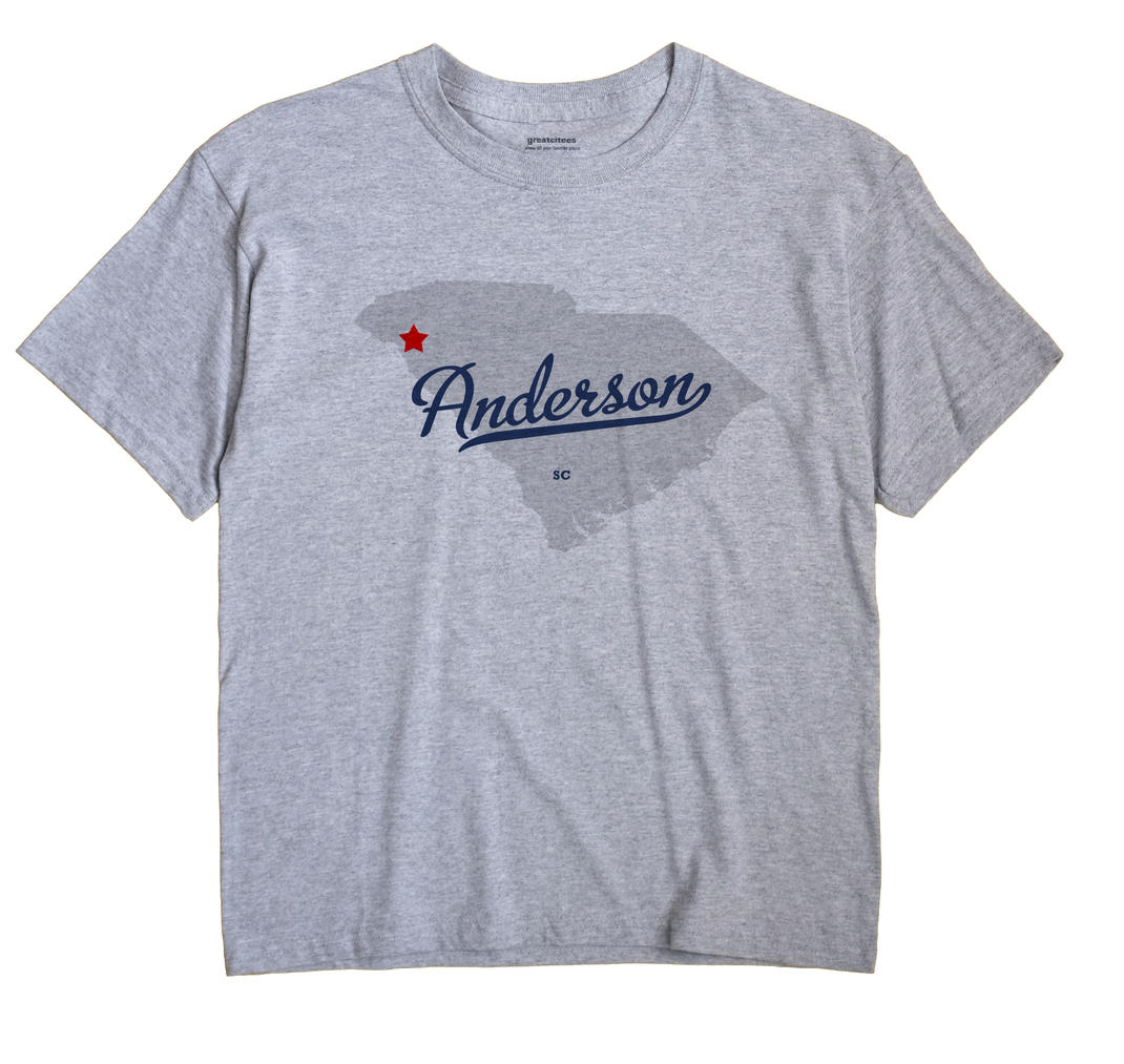 Anderson South Carolina SC T Shirt MAP WHITE Hometown Souvenir