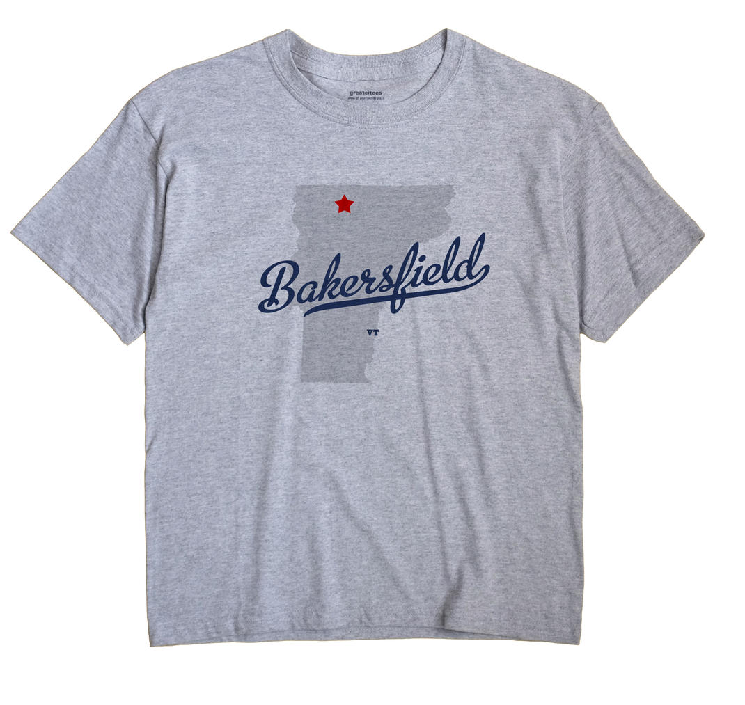 Bakersfield Vermont VT T Shirt SIDEWALK WHITE Hometown Souvenir