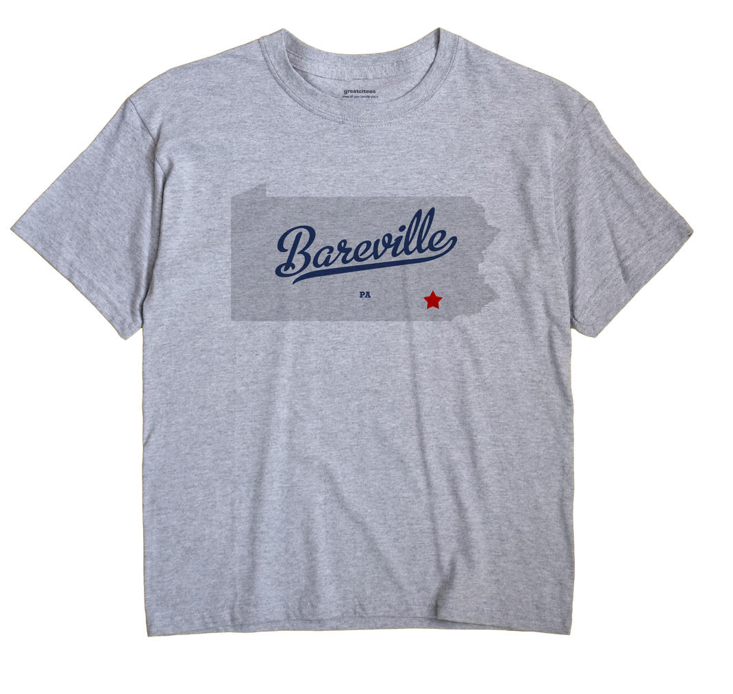Bareville Pennsylvania PA T Shirt MAP WHITE Hometown Souvenir