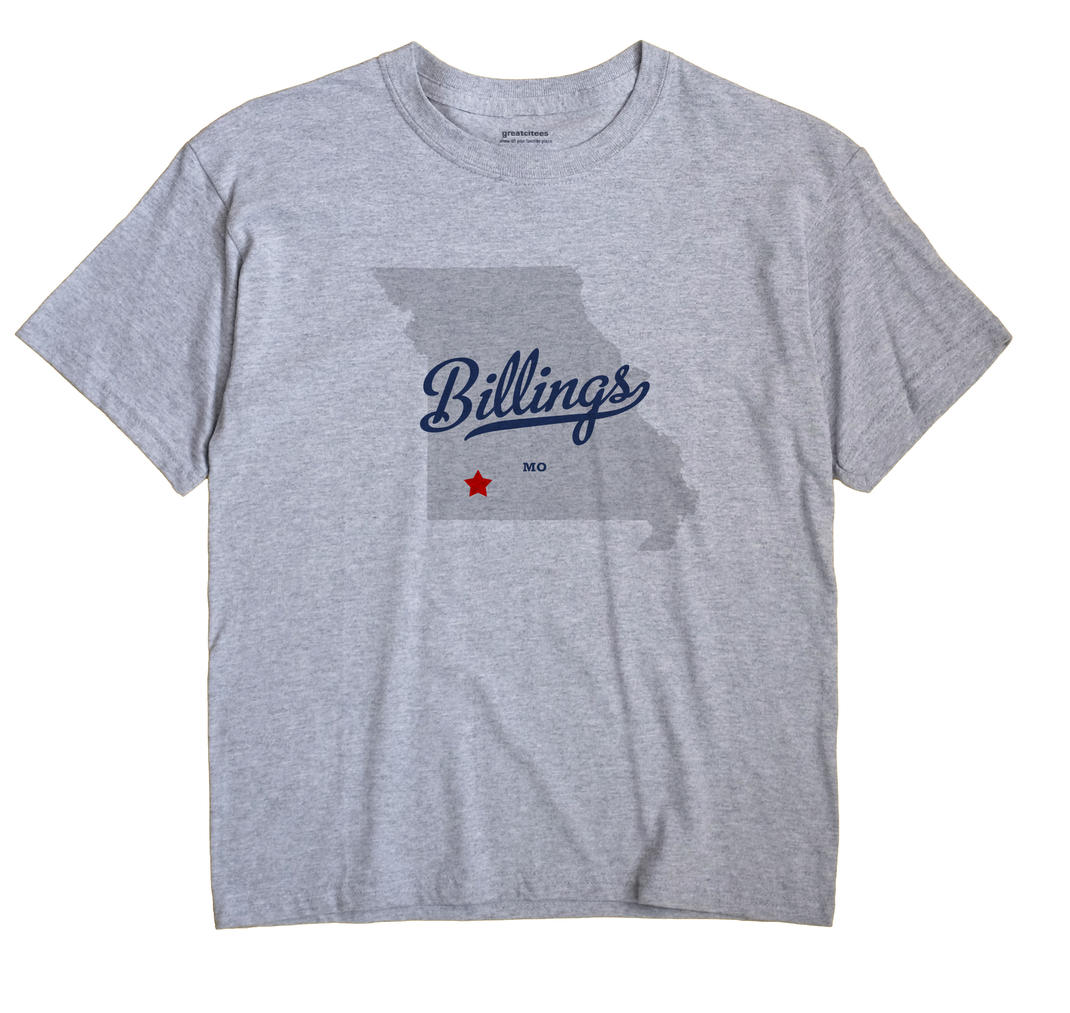 Billings Missouri MO T Shirt METRO WHITE Hometown Souvenir