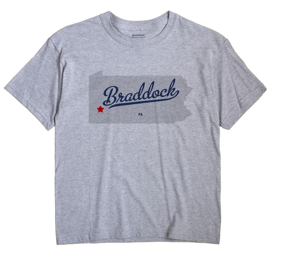 Braddock Pennsylvania PA T Shirt METRO WHITE Hometown Souvenir