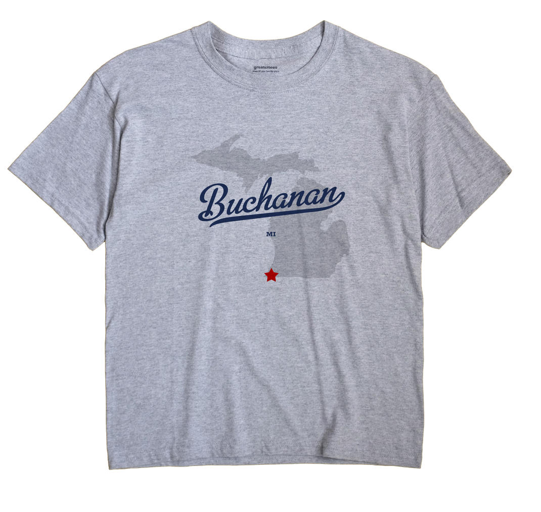Buchanan Michigan MI T Shirt METRO WHITE Hometown Souvenir