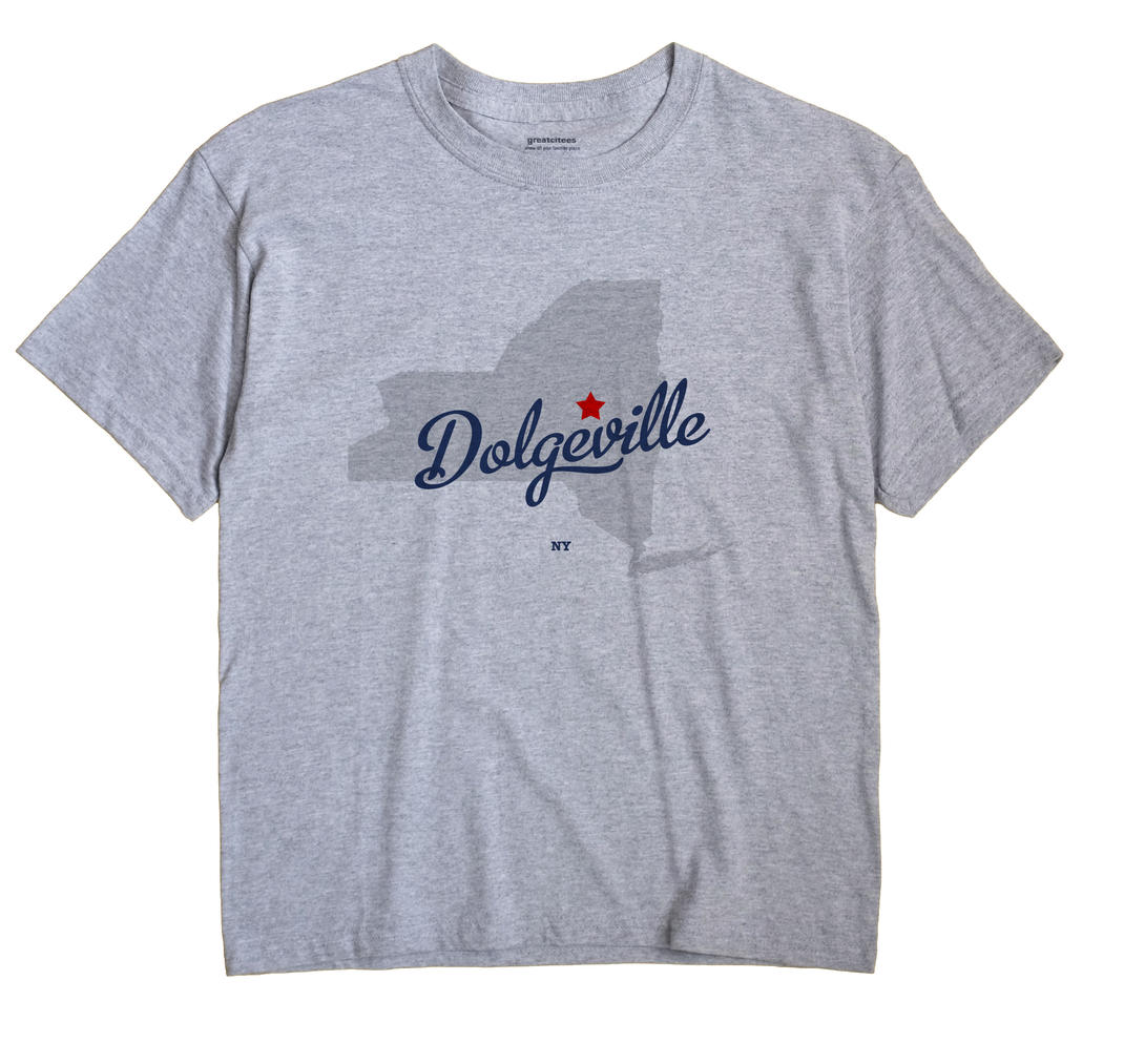Dolgeville New York NY T Shirt MAP WHITE Hometown Souvenir