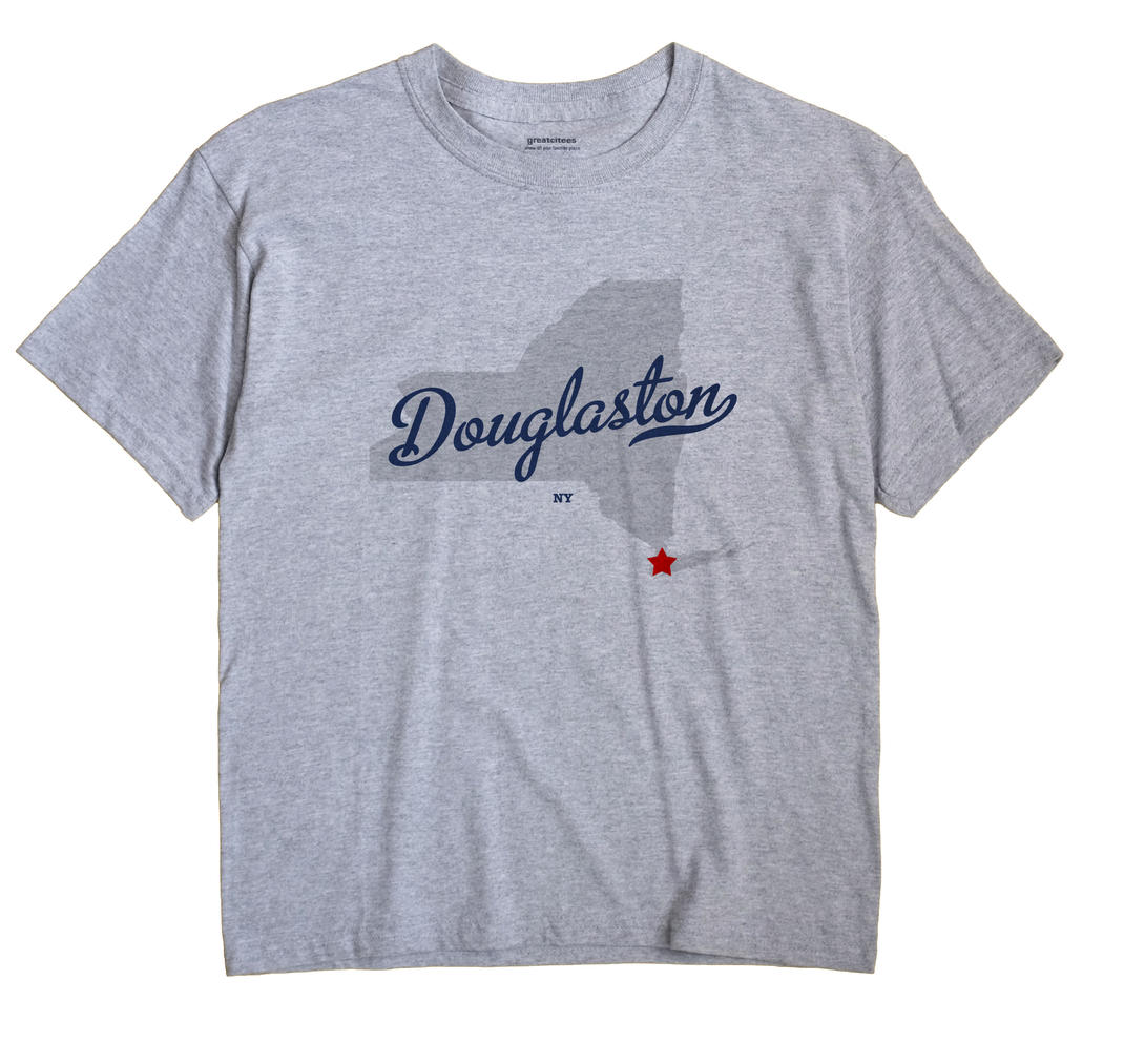 Douglaston New York NY T Shirt MAP WHITE Hometown Souvenir