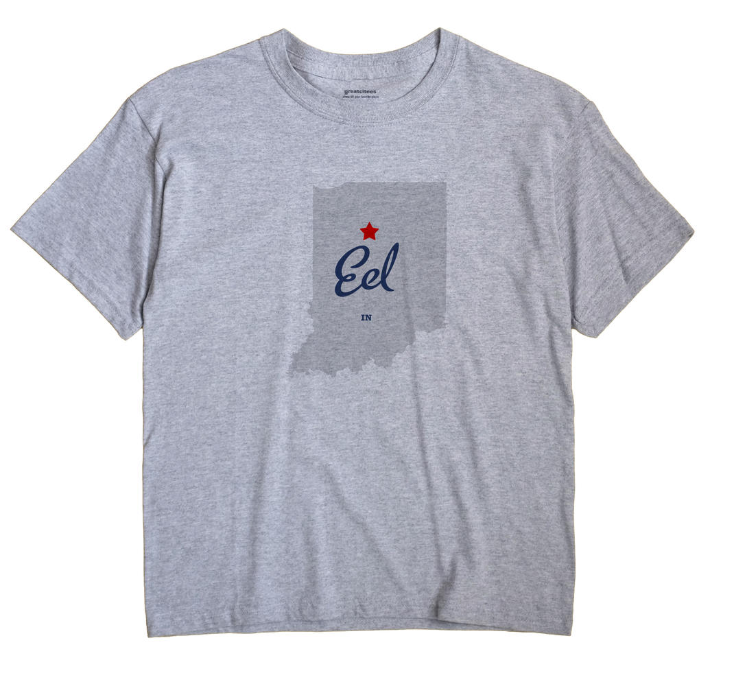 Eel Indiana IN T Shirt MAP WHITE Hometown Souvenir
