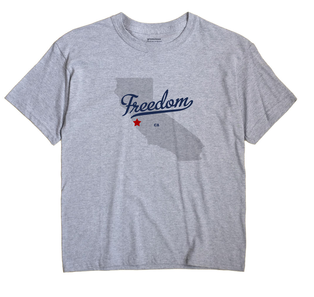 Freedom California CA T Shirt MAP WHITE Hometown Souvenir