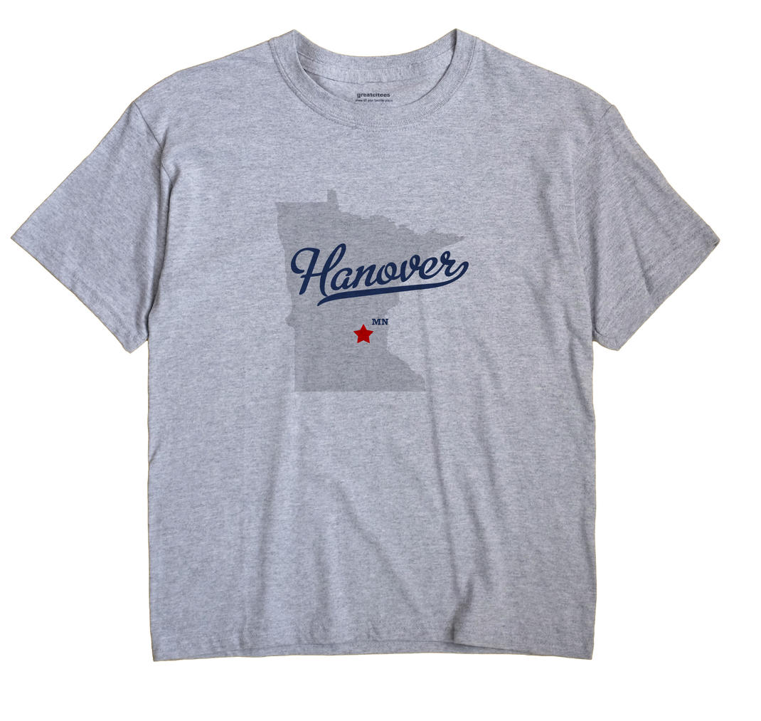 Hanover Minnesota MN T Shirt MAP WHITE Hometown Souvenir