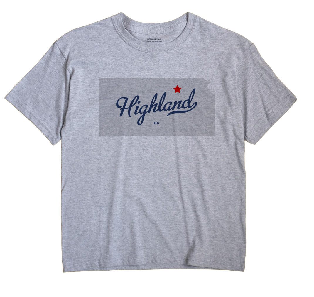 Highland, Clay County, Kansas KS Souvenir Shirt