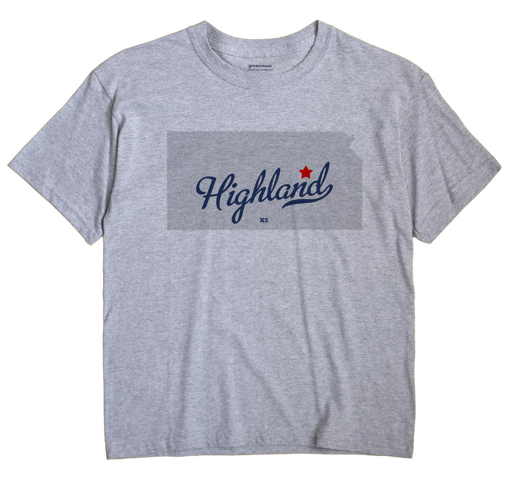 Highland, Morris County, Kansas KS Souvenir Shirt