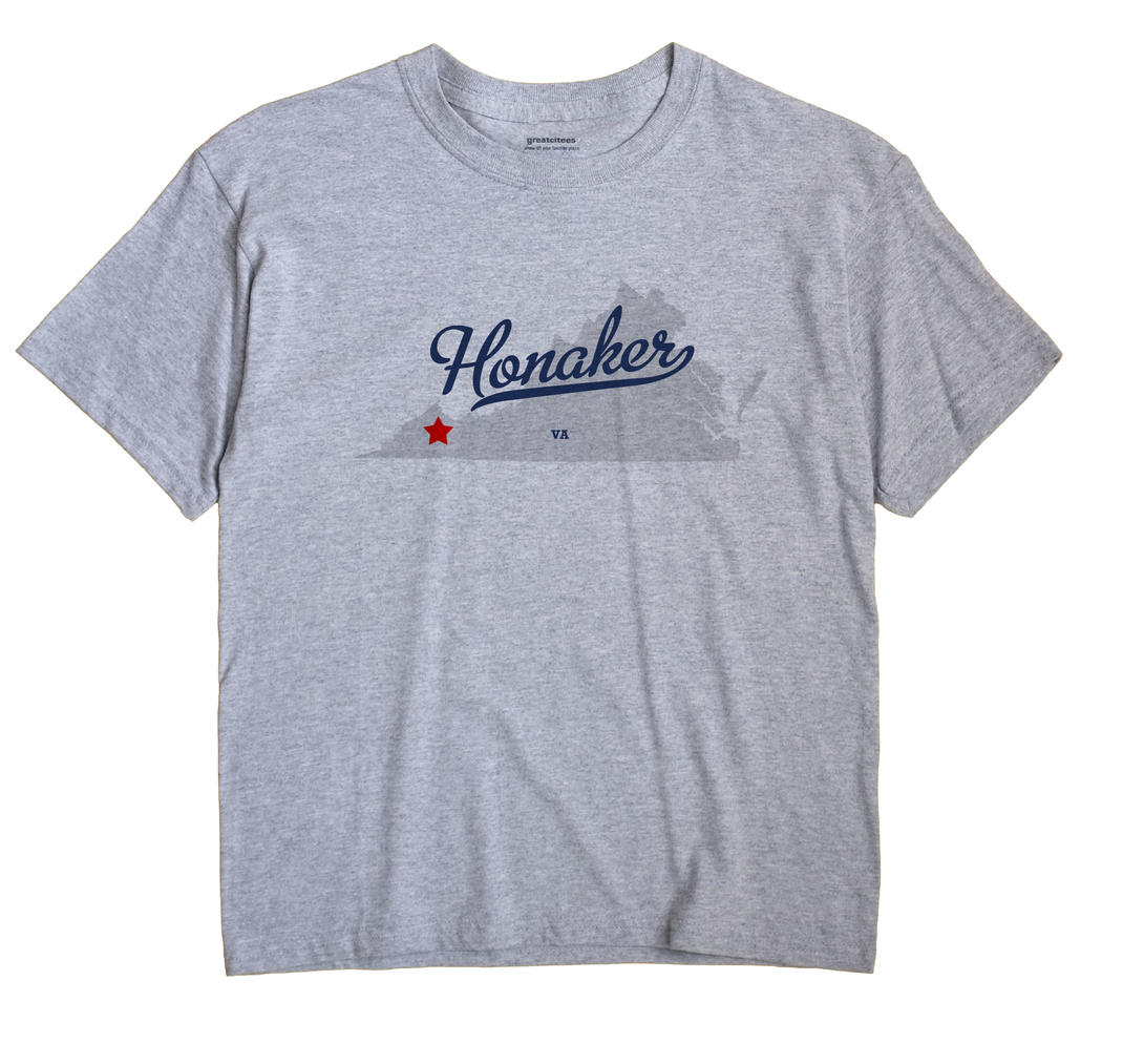 Honaker Virginia VA T Shirt AMOEBA WHITE Hometown Souvenir