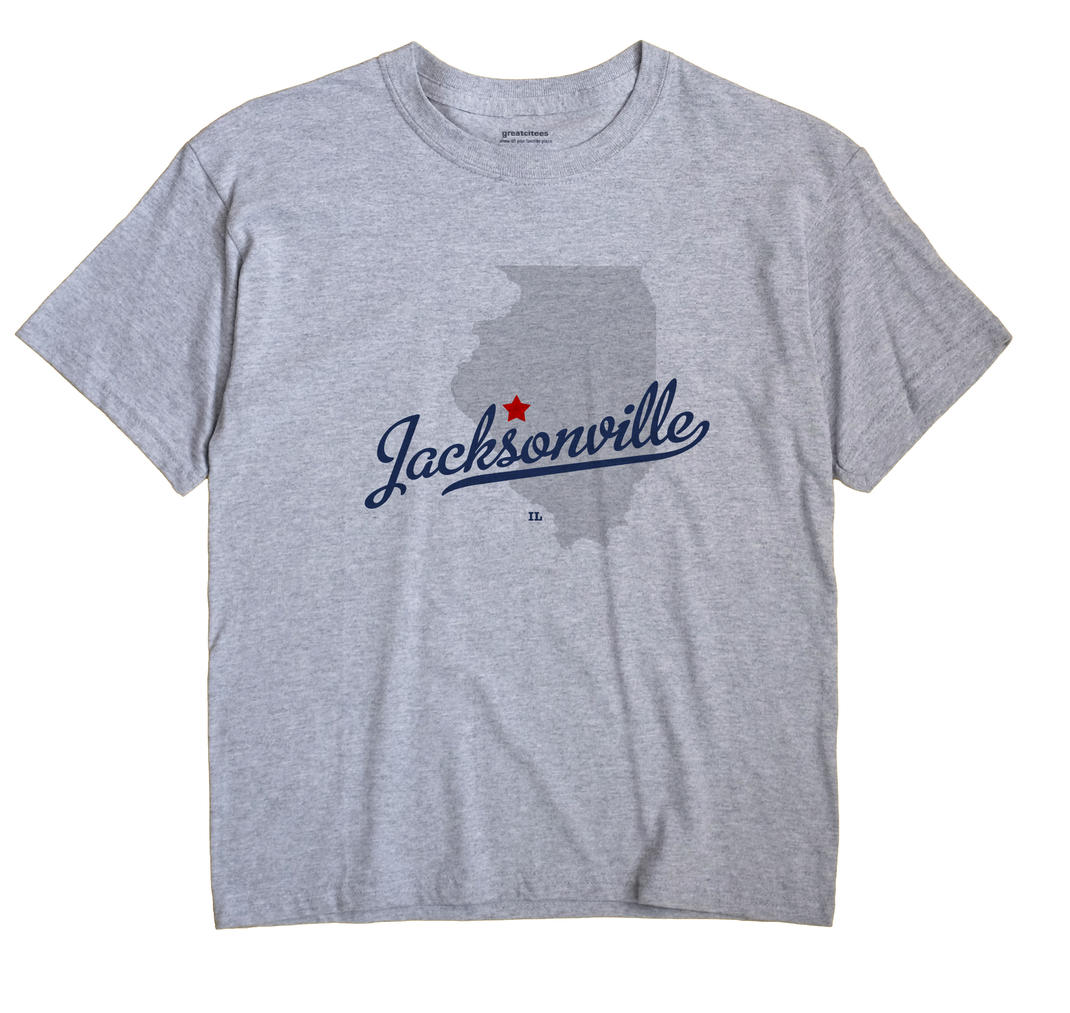 Jacksonville Illinois IL T Shirt CANDY WHITE Hometown Souvenir
