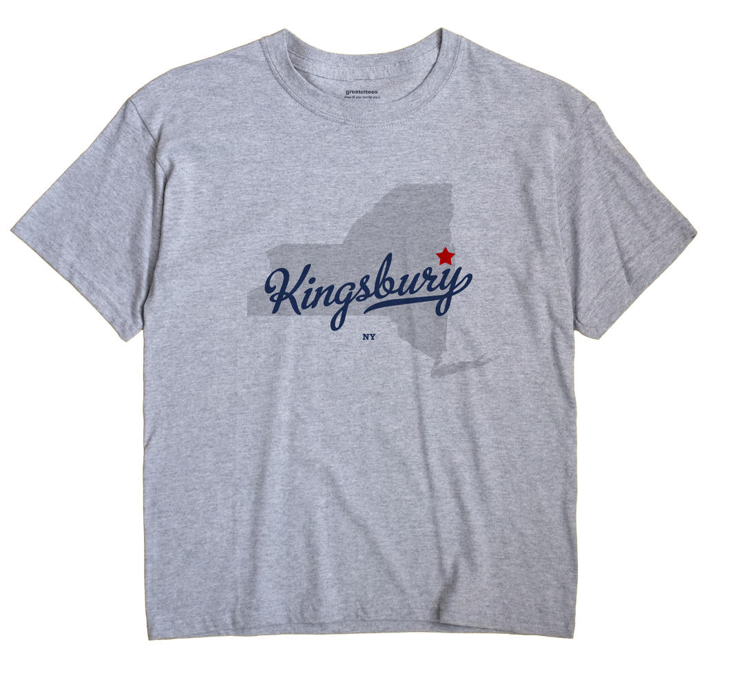 Kingsbury New York NY T Shirt SIDEWALK WHITE Hometown Souvenir