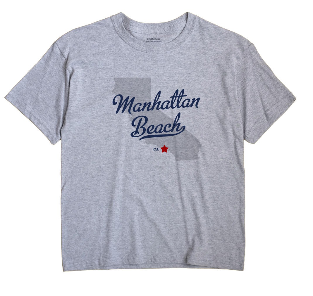 Manhattan Beach California CA T Shirt METRO WHITE Hometown Souvenir