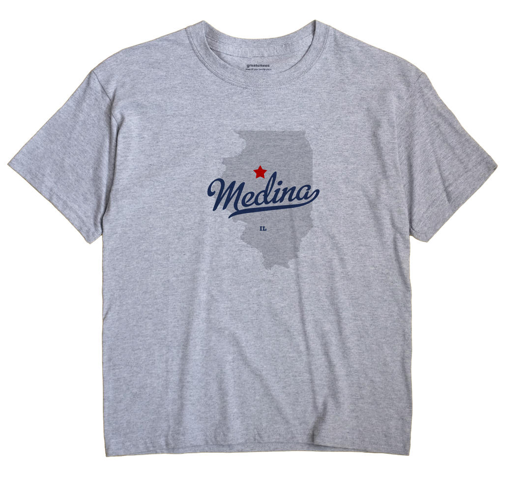 Medina Illinois IL T Shirt METRO WHITE Hometown Souvenir