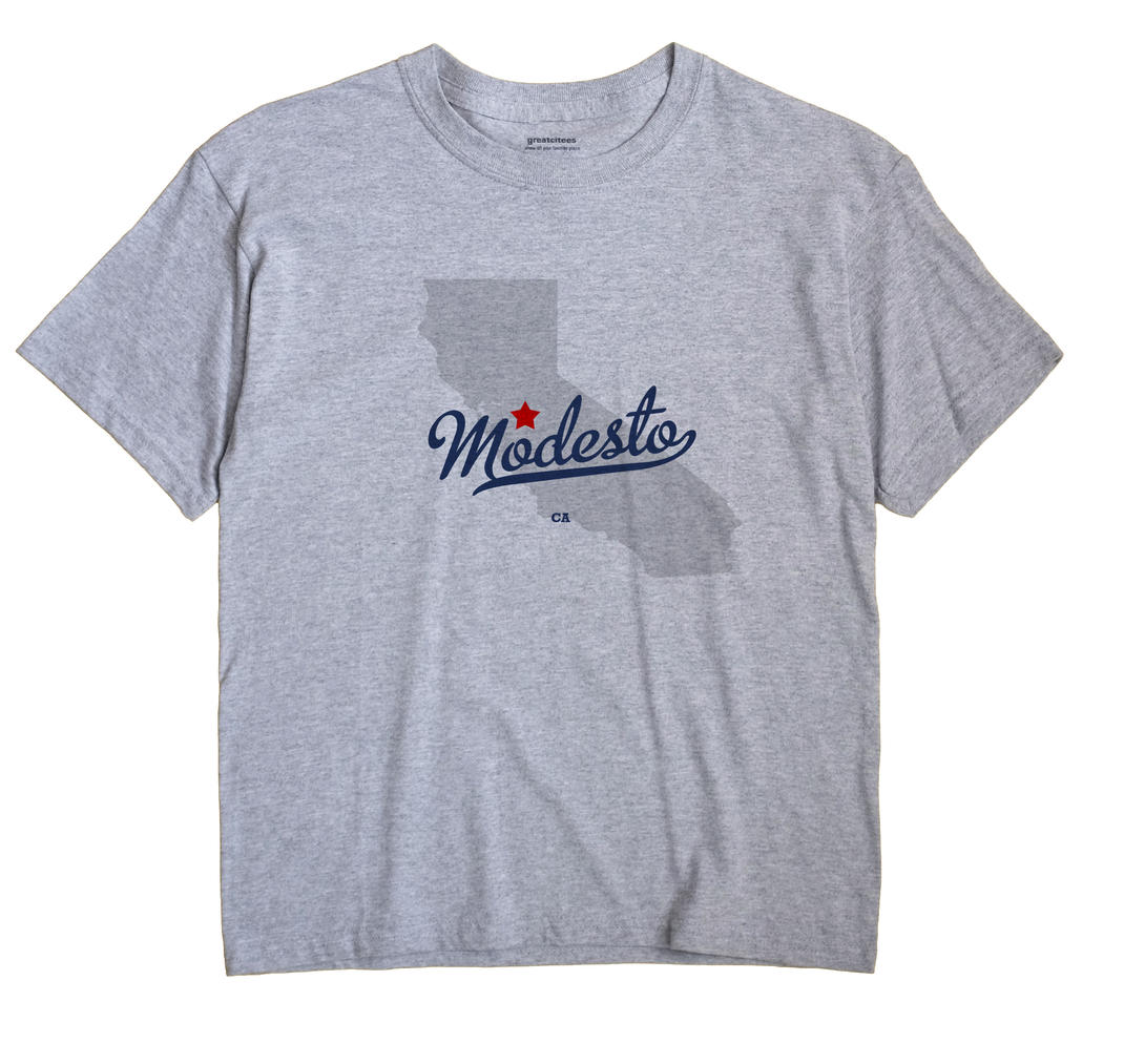 Modesto California CA T Shirt METRO WHITE Hometown Souvenir