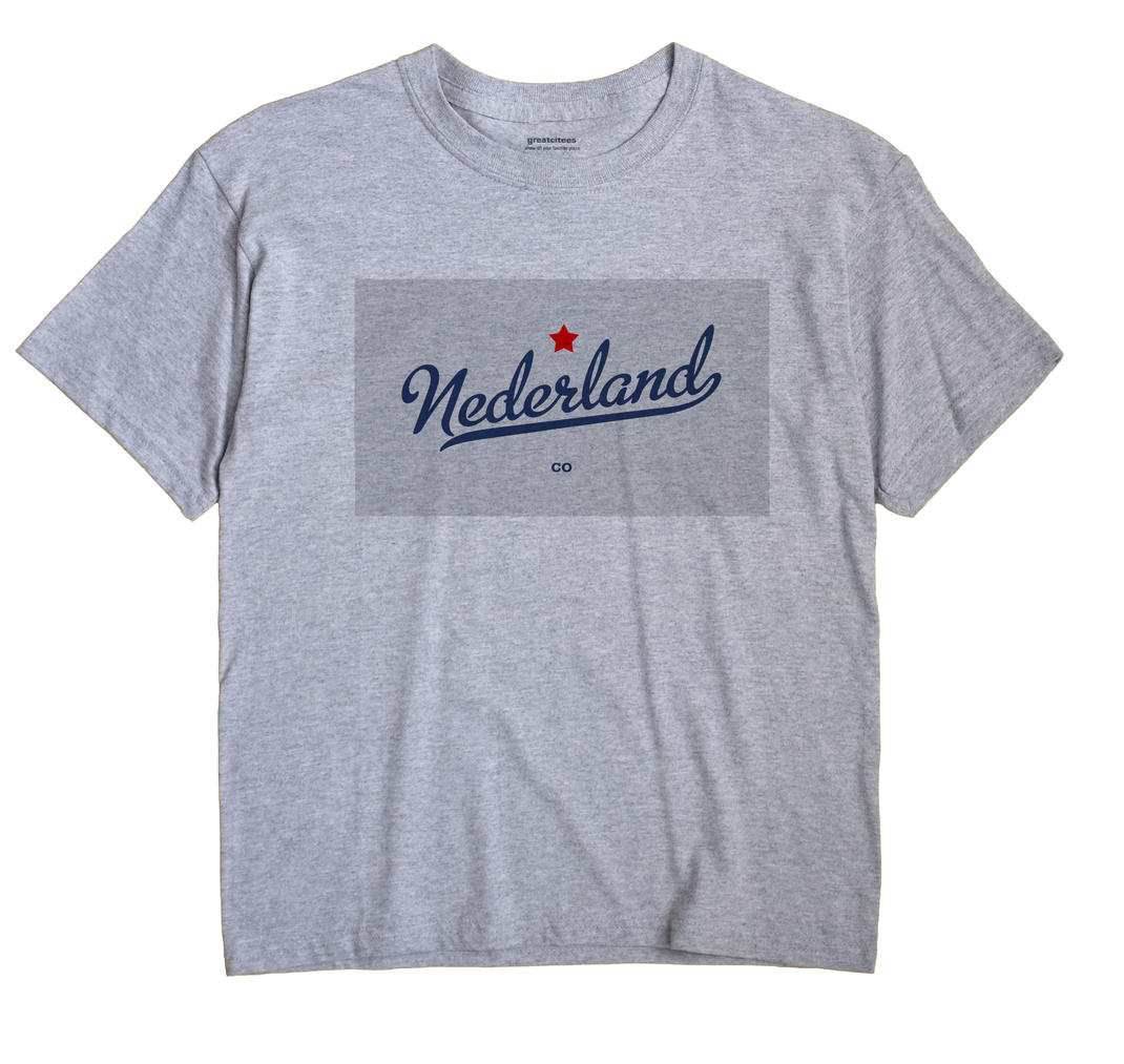 Nederland Colorado CO T Shirt MAP WHITE Hometown Souvenir