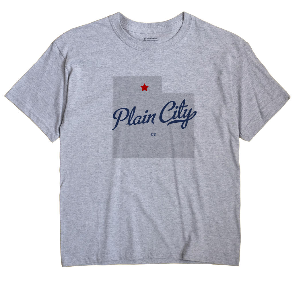 Plain City Utah UT T Shirt MAP WHITE Hometown Souvenir