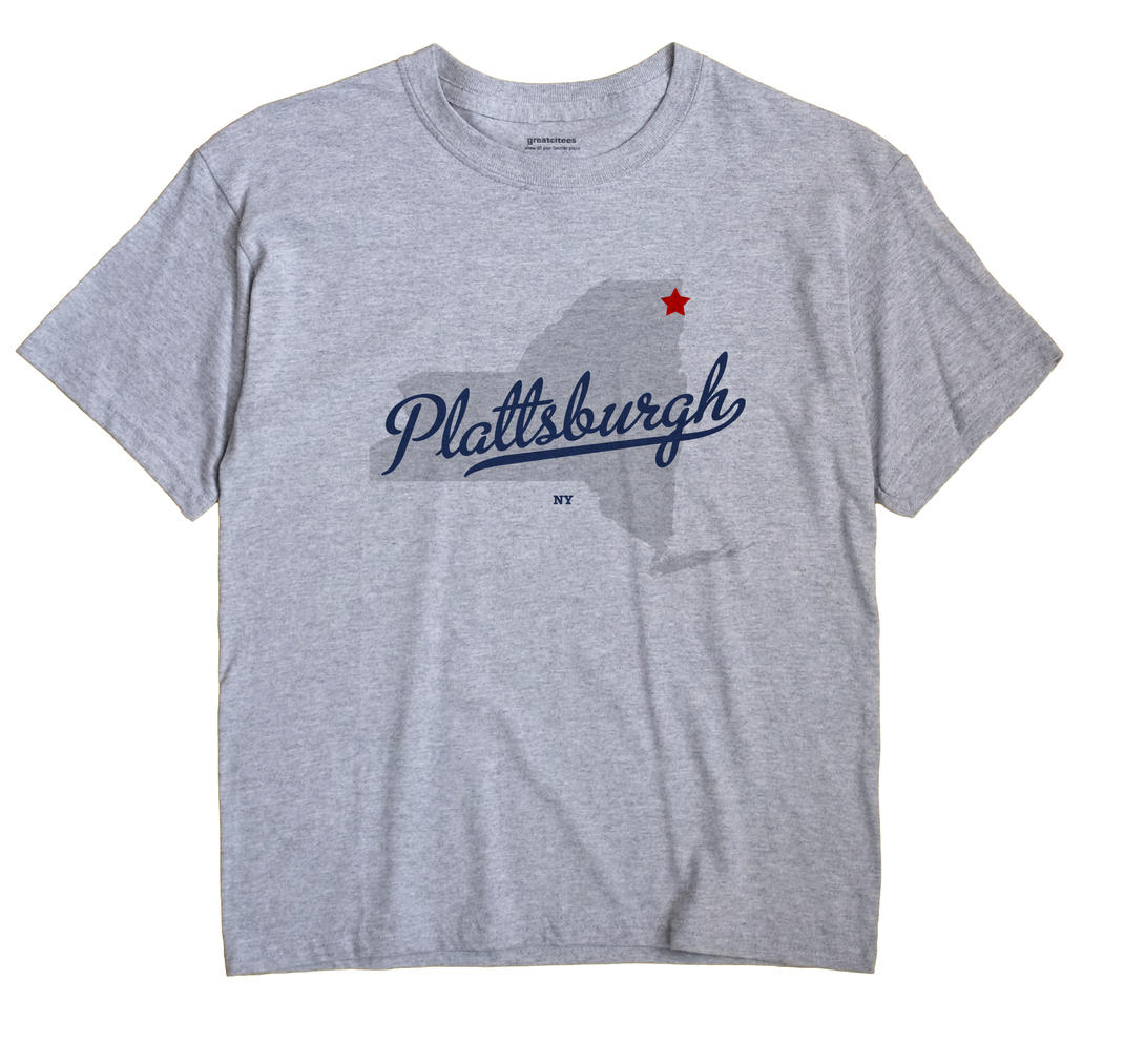 Plattsburgh New York NY T Shirt METRO WHITE Hometown Souvenir