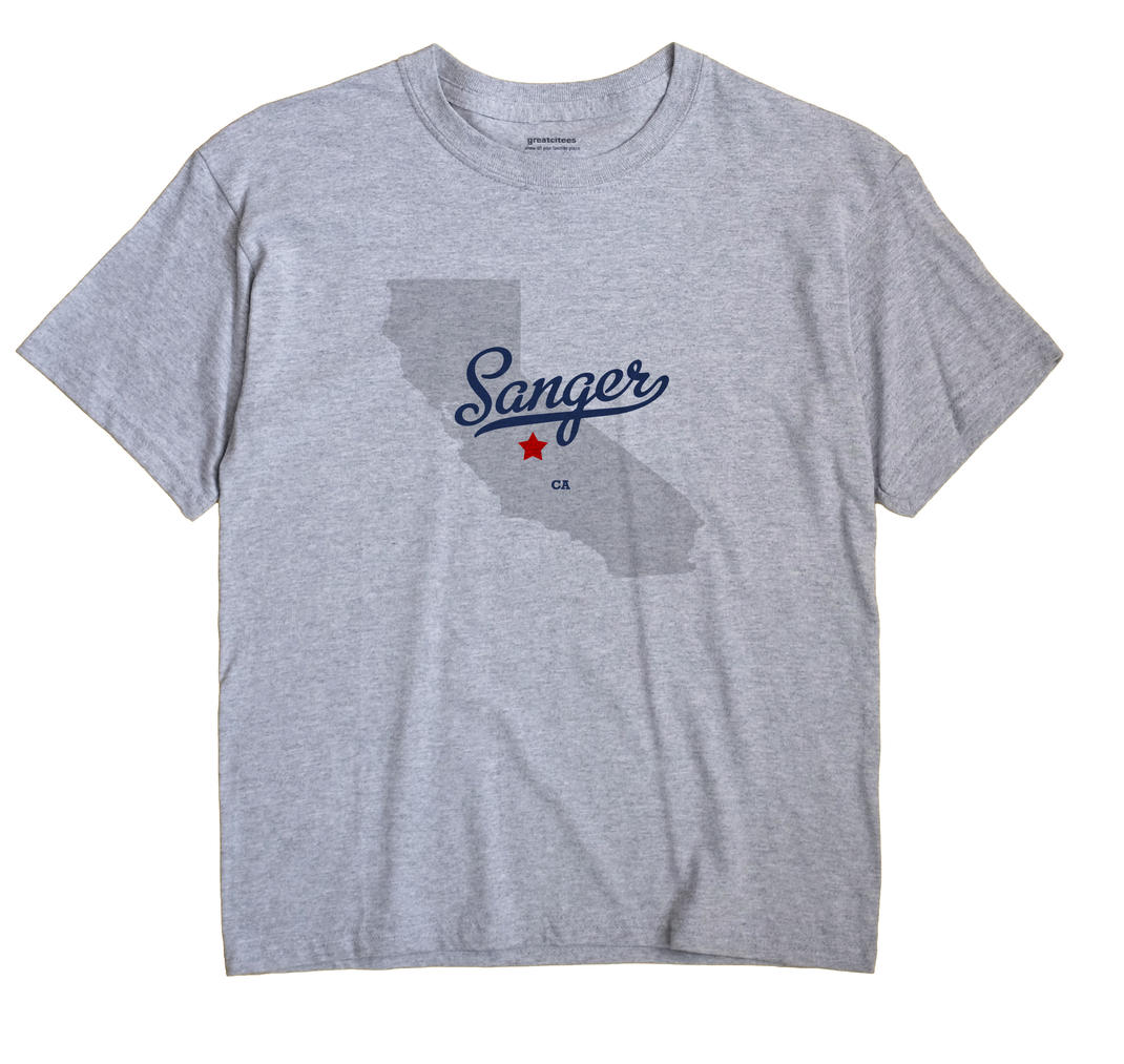 Sanger California CA T Shirt METRO WHITE Hometown Souvenir