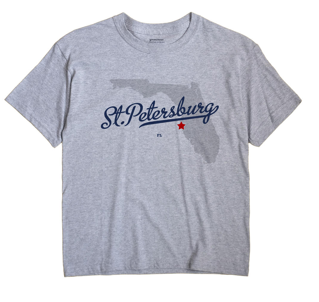 St. Petersburg Florida FL T Shirt METRO WHITE Hometown Souvenir